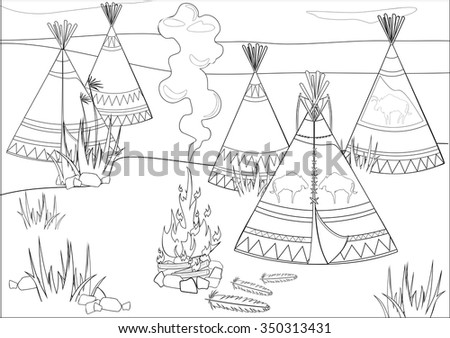 Coloring with halt Indians in prairie - stock photo
