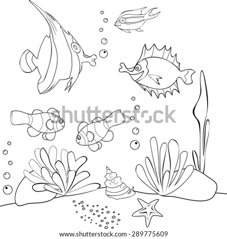 Coloring with Tropical Fish - stock photo