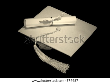 Colorized Cap and Diploma - stock photo