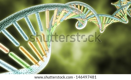 colorized DNA model on Green Biological styled background, 3D rendering with Depth of Field (DoF) - stock photo