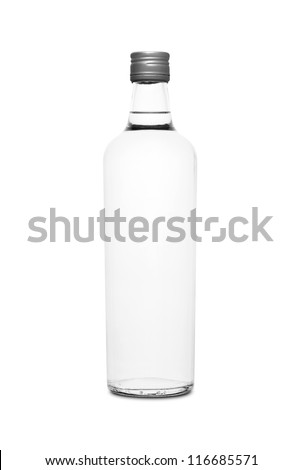 Colorless glass bottle isolated on white background - stock photo