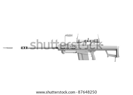 Colorless Gun isolated on white with bullet - stock photo