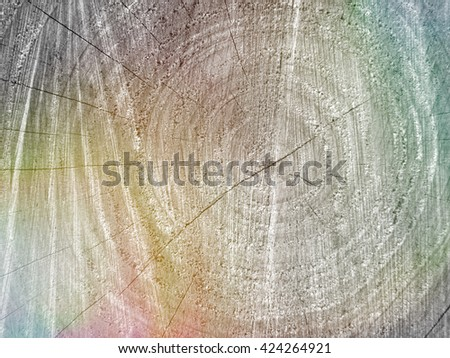 Colors added to section of  tree stump