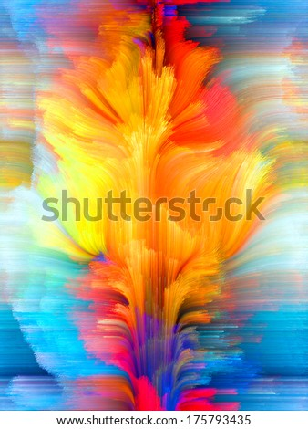 Colors In Bloom series. Interplay of fractal color textures on the subject of imagination, creativity and design - stock photo