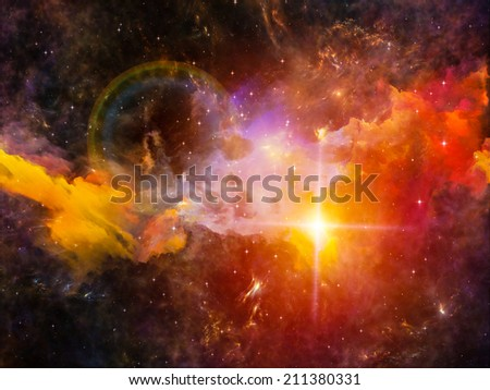 Colors in Space series. Abstract design made of colorful clouds and space elements on the subject of art, creativity, imagination, science and design