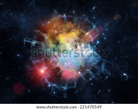 Colors in Space series. Backdrop composed of colorful clouds and space elements and suitable for use in the projects on art, creativity, imagination, science and design - stock photo