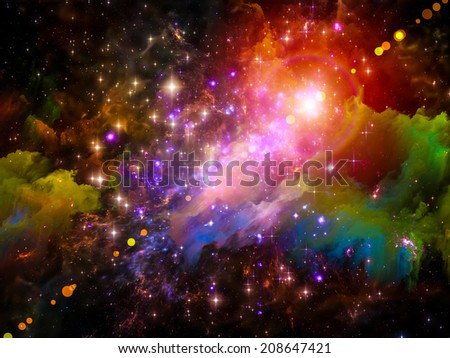 Colors in Space series. Backdrop of colorful clouds and space elements on the subject of art, creativity, imagination, science and design - stock photo