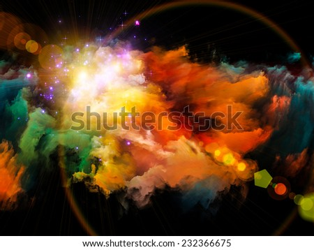 Colors in Space series. Design composed of colorful clouds and space elements as a metaphor on the subject of art, creativity, imagination, science and design - stock photo