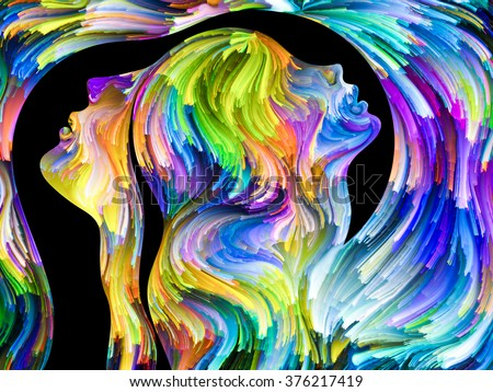 Colors In Us series. Composition of Human profiles and swirls of colorful paint on the subject of emotion, passion, desire, feelings, inner world, imagination and creativity - stock photo
