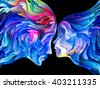 Colors In Us series. Interplay of Human profiles and swirls of colorful paint on the subject of emotion, passion, desire, feelings, inner world, imagination and creativity - stock vector