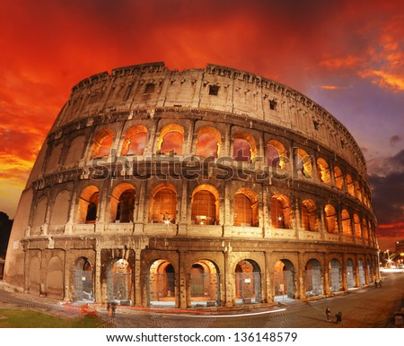 Colors of Colosseum at Sunset, Rome.