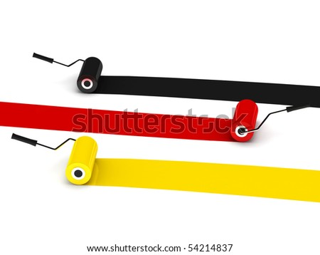 Colors of Germany. Paint rollers isolated on white background. High quality 3d render.