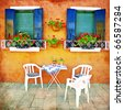 colors of Greece (from my mediterranean series) - stock photo
