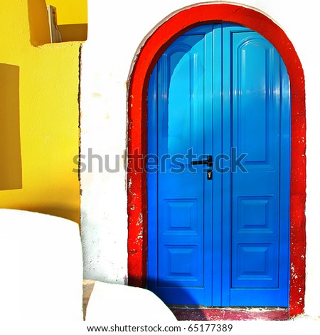colors of Greece series - traditional doors - stock photo