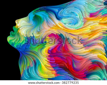 Colors of Passion series. Arrangement of colorful human profiles executed in surreal painting style on the subject of dreams, passions, creativity and imagination - stock photo