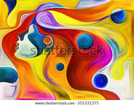 Colors of Passion series. Backdrop of colorful human profiles executed in surreal painting style on the subject of dreams, passions, creativity and imagination - stock photo