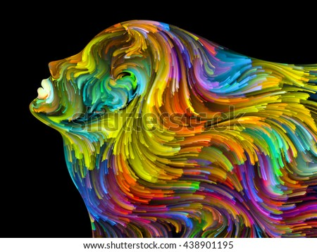 Colors of Passion series. Composition of colorful human profile executed in surreal painting style suitable as a backdrop for the projects on dreams, passions, creativity and imagination - stock photo