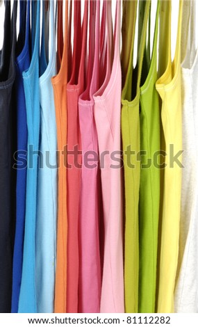 Colors of rainbow casual peignoir hangers background - stock photo