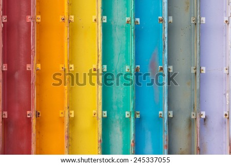 Colors of Rainbow Painted on Seven Steel Beams. - stock photo