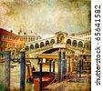 colors of romantic Venice- painting style series - Rialto bridge - stock photo