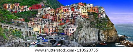 colors of sunny Italy series - Monarolla, Cinque terre - stock photo