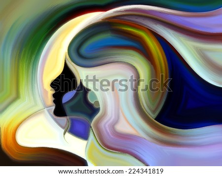 Colors of the Mind series. Abstract composition of elements of human face, and colorful abstract shapes suitable as element in projects related to mind, reason, thought, emotion and spirituality - stock photo