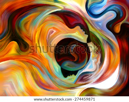 Colors of the Mind series. Background design of elements of human face, and colorful abstract shapes on the subject of mind, reason, thought, emotion and spirituality - stock photo