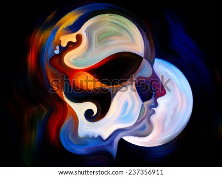 Colors of the Mind series. Composition of elements of human face, and colorful abstract shapes on the subject of mind, reason, thought, emotion and spirituality