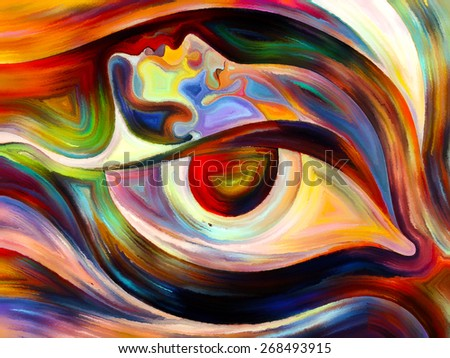 Colors of the Mind series. Composition of elements of human face, and colorful abstract shapes with metaphorical relationship to mind, reason, thought, emotion and spirituality - stock photo
