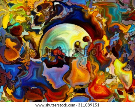 Colors of the Mind series. Design composed of elements of human face, and colorful abstract shapes as a metaphor on the subject of mind, reason, thought, emotion and spirituality - stock photo