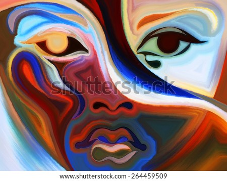 Colors of the Mood series. Abstract arrangement of elements of human face, and colorful abstract shapes suitable as background for projects on mind, reason, thought, emotion and spirituality - stock photo