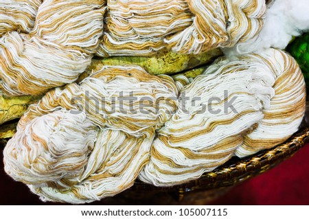 Colors of the natural cotton fiber for textiles. - stock photo