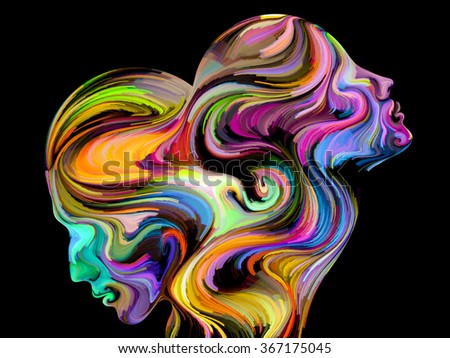 Colors of Unity series. Artistic background made of colorful and surreal human profiles for use with projects on love, passion, romantic attraction and unity - stock photo