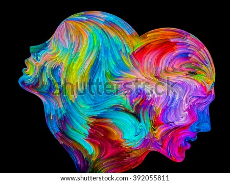 Colors of Unity series. Backdrop design of colorful and surreal human profiles for works on love, passion, romantic attraction and unity - stock photo