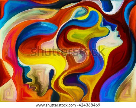 Colors of Unity series. Graphic composition of colorful and surreal human profiles  for subject of love, passion, romantic attraction and unity - stock photo