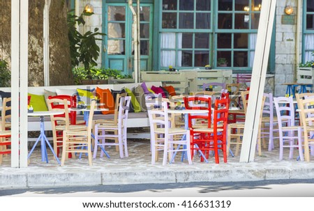 colors, open street cafe, summer, Ioannina city, Greece