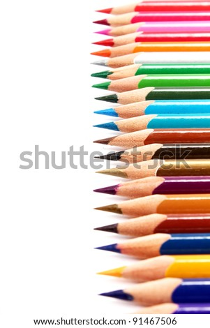 colors pencil in series on white background - stock photo