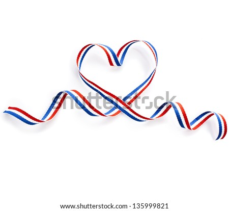 Colors Ribbon Tape Shape Heart Valentine's Day Card close up isolated on white background - stock photo