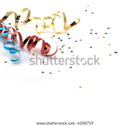 colors streamer on white background - stock photo