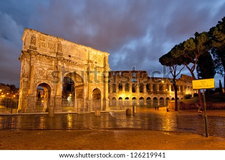 Colosseum and Arch - stock photo
