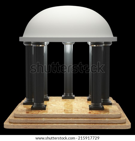 Colosseum and the Roman columns of marble. realistic. isolated on black background. 3d illustration