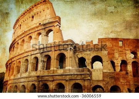 Colosseum - artistic picture in retro style - stock photo