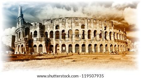 Colosseum - artistic toned picture - stock photo