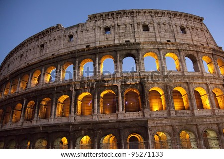 Colosseum at dusk, Rome, blue sky, floodlit