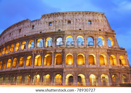 Colosseum at dusk, Rome, Italy - stock photo