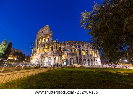 Colosseum at night in Rome, Italy - stock photo