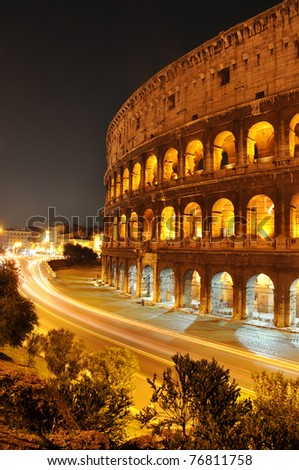 Colosseum at night, Rome, Italy - stock photo