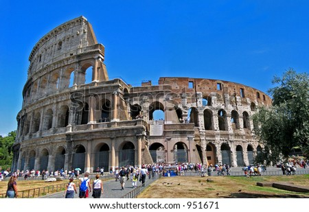 colosseum at rome italy - stock photo