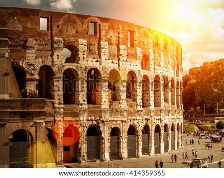Colosseum (Coliseum) in Rome, Italy - stock photo