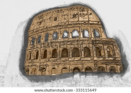 Colosseum (Coliseum) in Rome, Italy.  Painting of travel scene, pencil drawing outlines of background - stock photo
